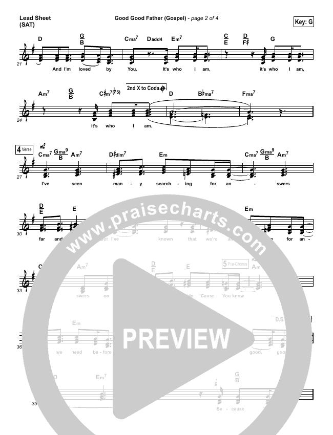 Good Good Father (Gospel) Lead & Piano/Vocal (PraiseCharts)