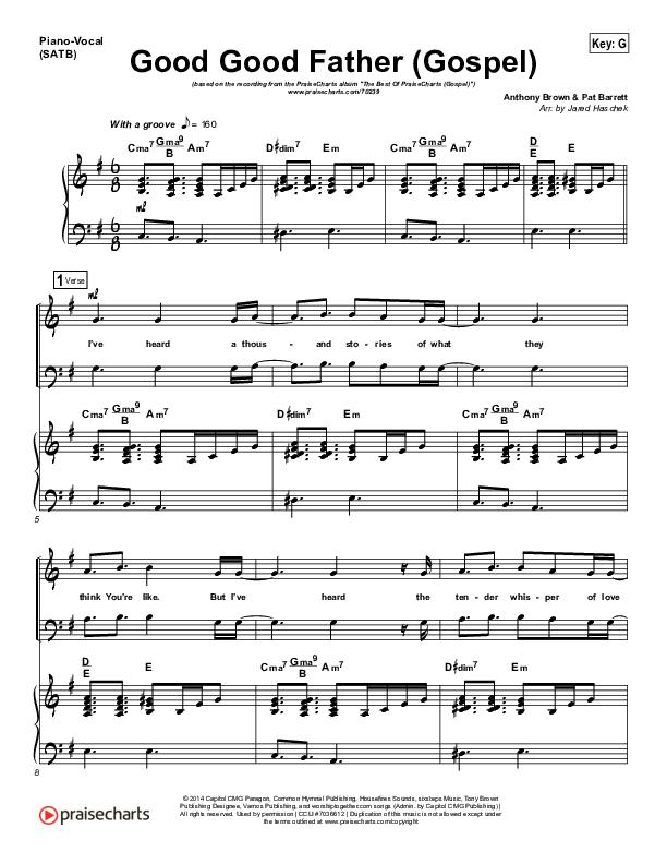 Good Good Father (Gospel) Piano/Vocal (SATB) (PraiseCharts)