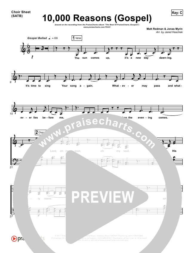 10000 Reasons (Bless The Lord) (Gospel) Choir Sheet (SATB) (PraiseCharts)