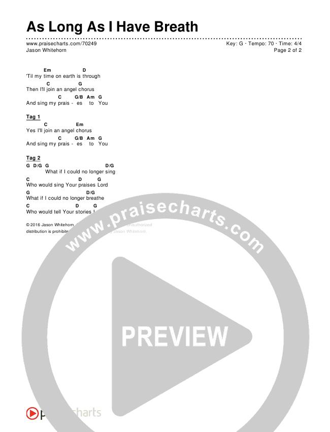 As Long As I Have Breath Chords Jason Whitehorn Praisecharts