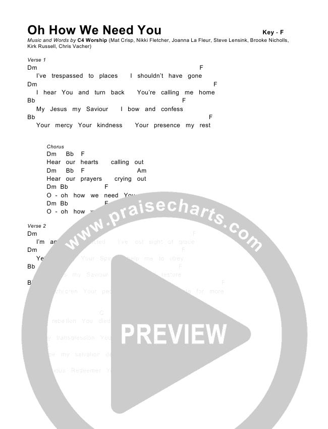 Oh How We Need You Chords & Lyrics (C4 Worship)