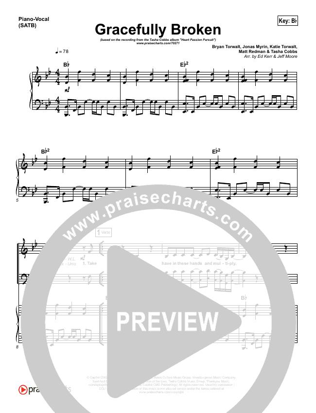 Gracefully Broken Piano/Vocal (SATB) (Tasha Cobbs)