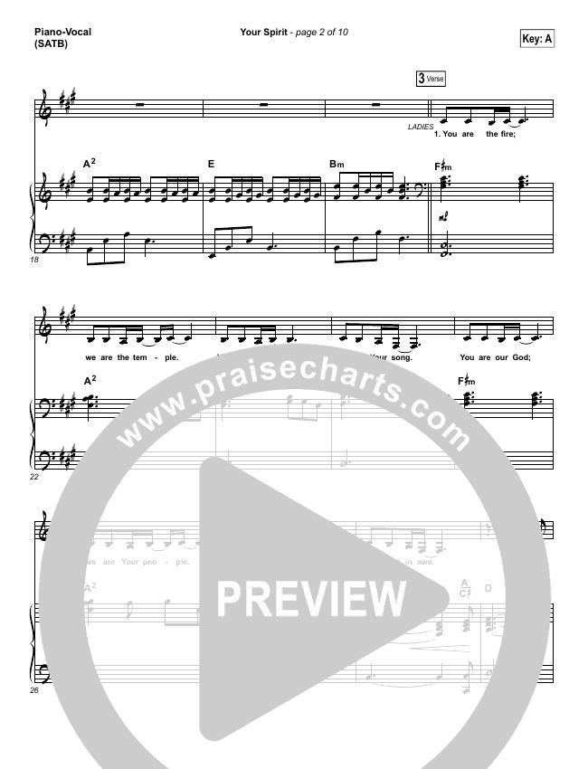 Your Spirit Piano/Vocal (SATB) (Tasha Cobbs / Kierra Sheard)
