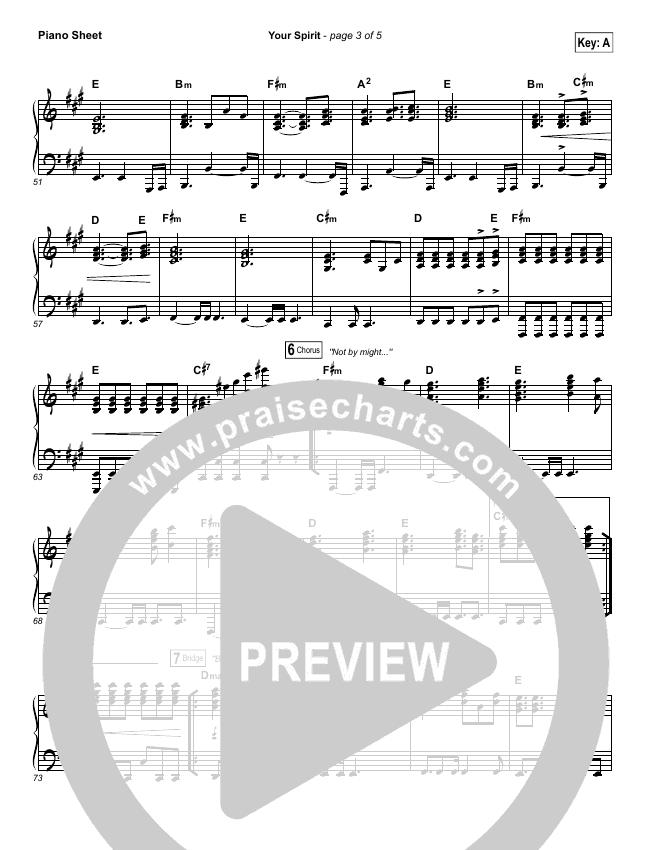 Your Spirit Piano Sheet (Tasha Cobbs / Kierra Sheard)