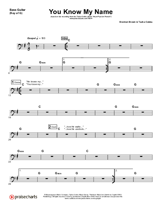 You Know My Name Rhythm Chart (Tasha Cobbs / Jimi Cravity)