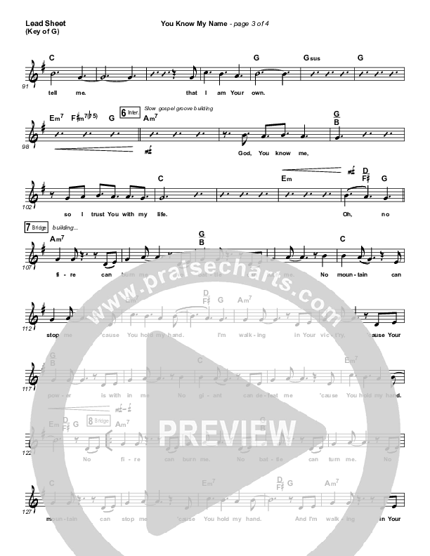 You Know My Name Lead Sheet (Melody) (Tasha Cobbs / Jimi Cravity)