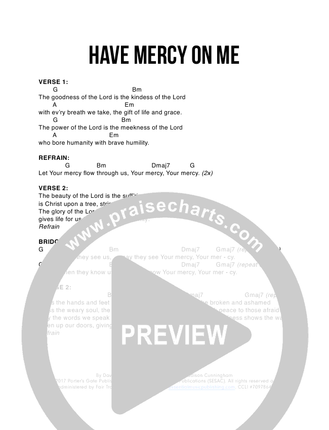 Have Mercy On Me Chords The Porters Gate David Gungor Praisecharts