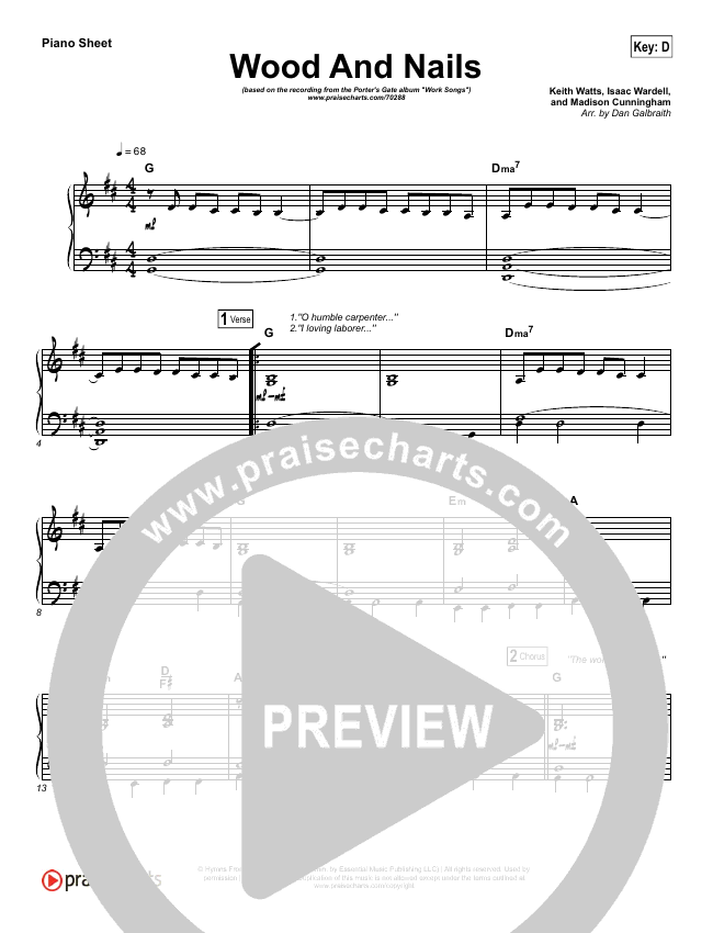 Wood And Nails Piano Sheet (The Porter's Gate / Josh Garrels / Audrey Assad)