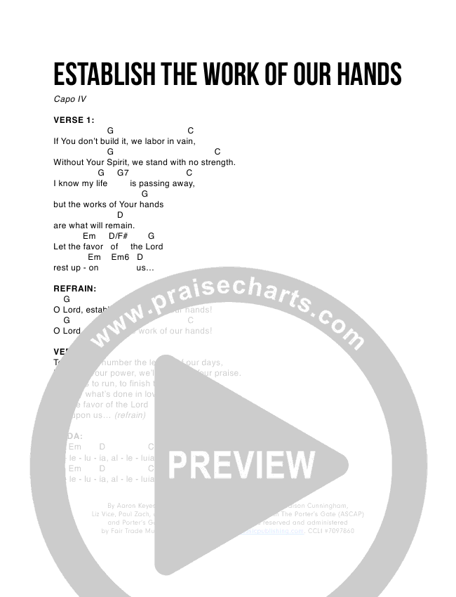 Establish The Work Of Our Hands Chord Chart (The Porter's Gate / Urban Doxology / Aaron Keyes)