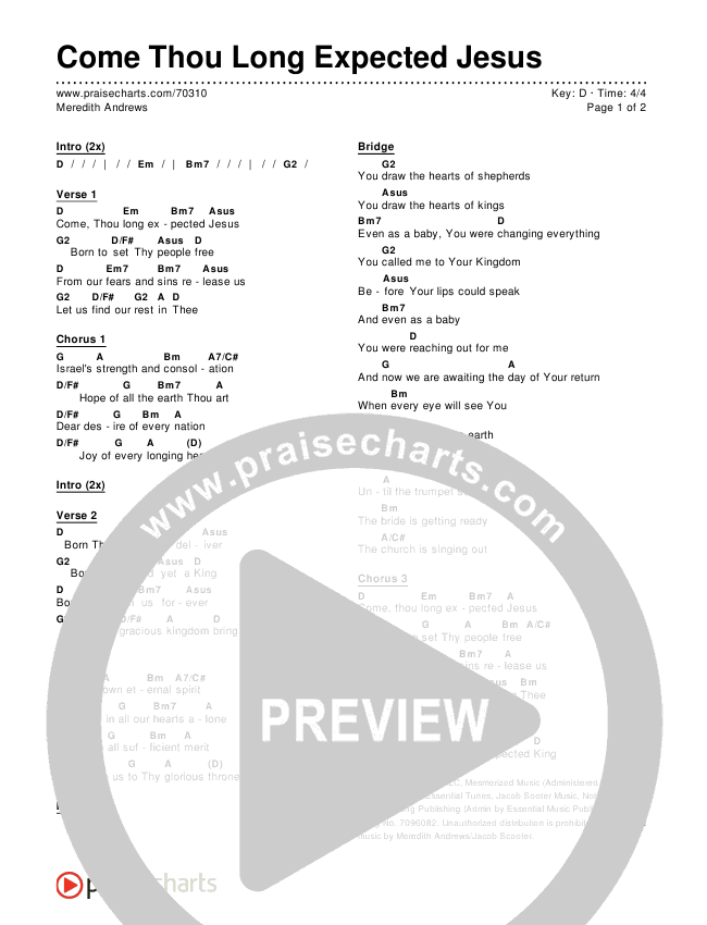 Come Thou Long Expected Jesus Chords Meredith Andrews Praisecharts