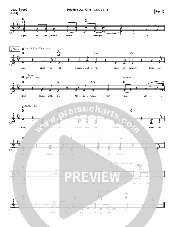 Receive Our King Lead Sheet (SAT) (Meredith Andrews / Michael Weaver)
