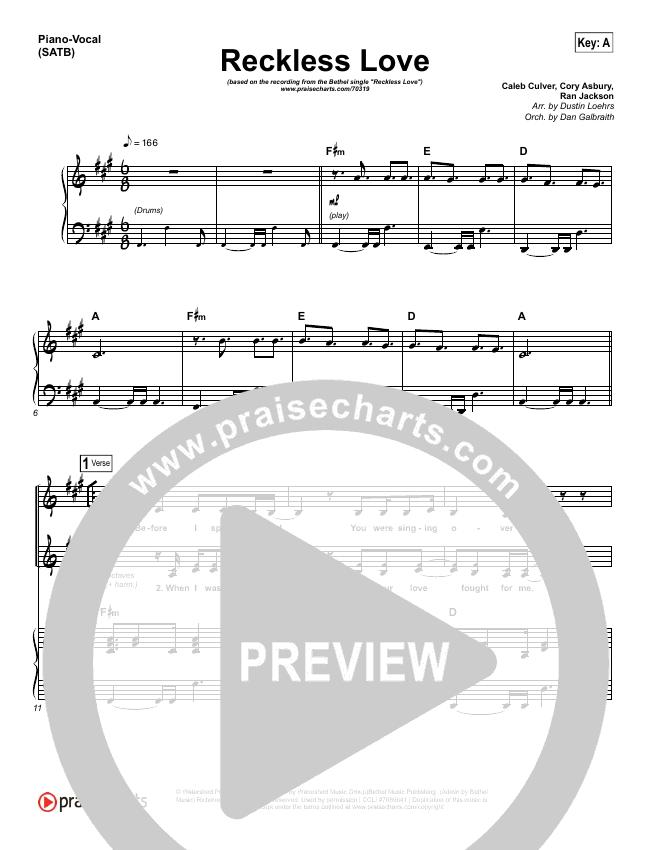 Reckless Love Piano/Vocal (SATB) (Bethel Music / Cory Asbury)