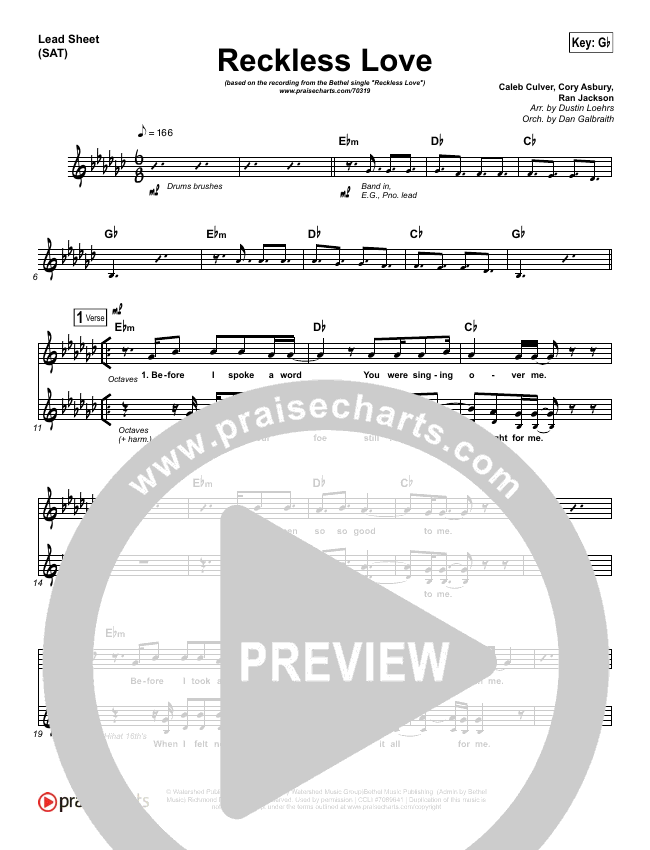 Reckless Love Orchestration - Bethel Music, Cory Asbury   PraiseCharts