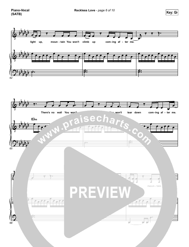 reckless love piano sheet music pdf
