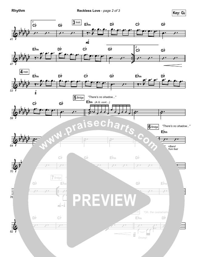 Reckless Love Rhythm Chart - Bethel Music, Cory Asbury | PraiseCharts