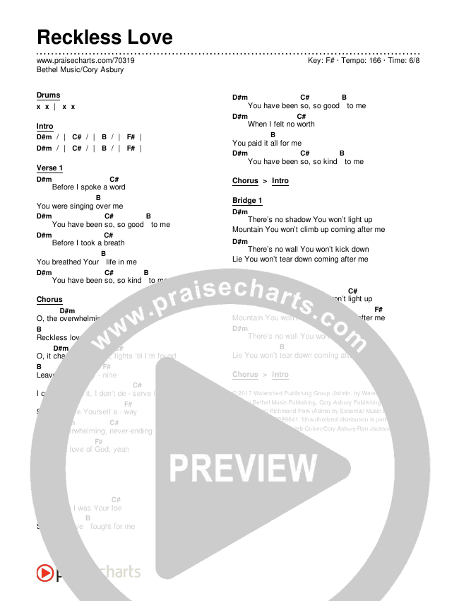 Reckless Love Chords & Lyrics (Bethel Music / Cory Asbury)