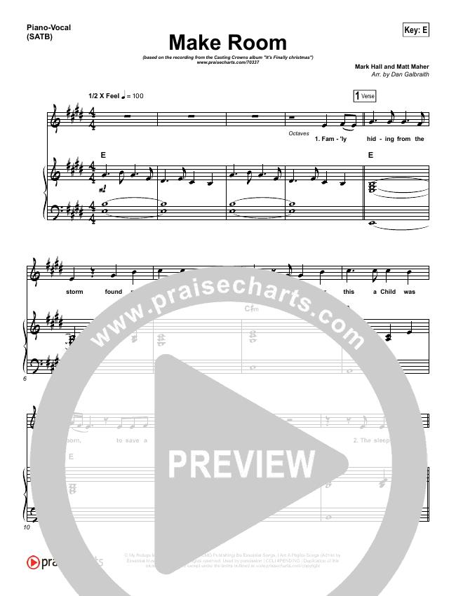 Make Room Piano/Vocal (SATB) (Casting Crowns / Matt Maher)