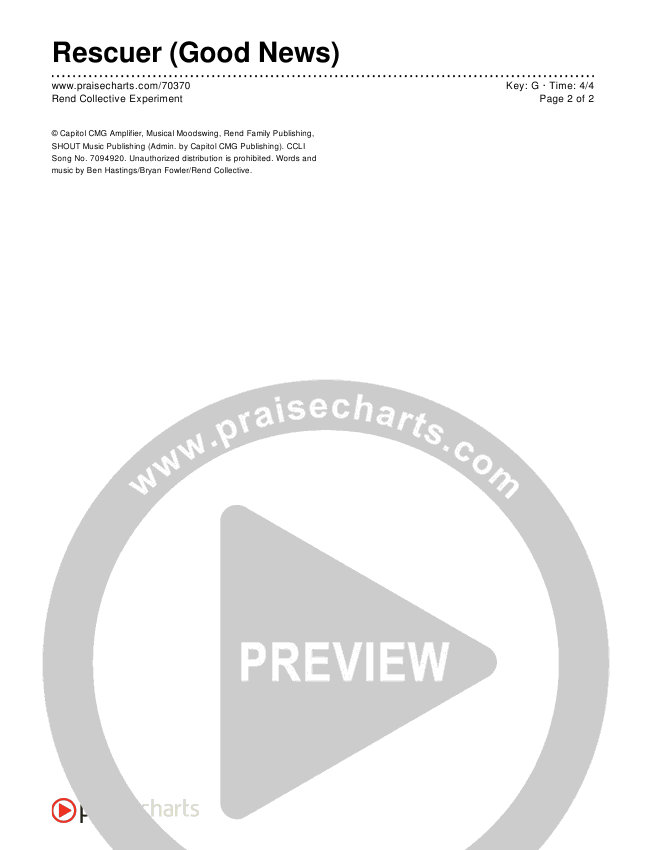 Rescuer (Good News) Chords & Lyrics (Rend Collective)