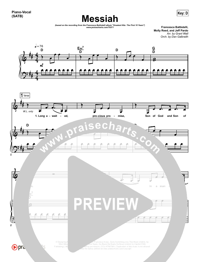 Messiah Lead & Piano/Vocal (Francesca Battistelli)