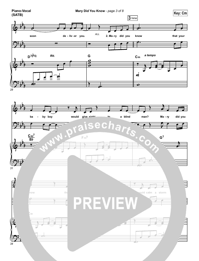 Mary Did You Know Piano/Vocal (SATB) (Mark Lowry)