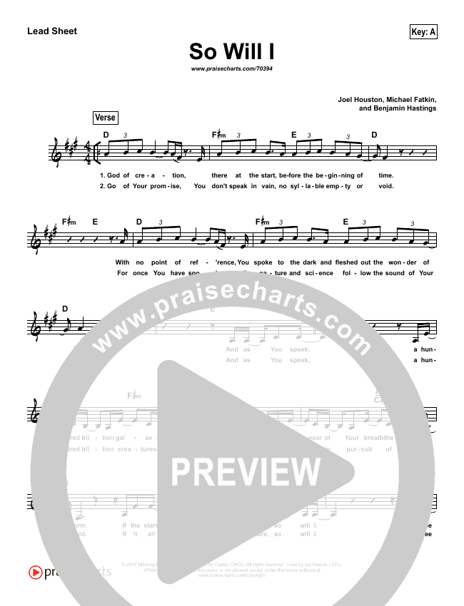 So Will I (100 Billion X) (Simplified) Lead Sheet (Melody) (Hillsong UNITED)