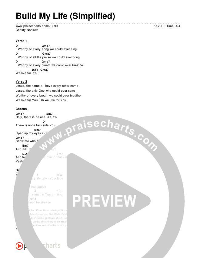 Build My Life (Simplified) Chords & Lyrics (Christy Nockels)