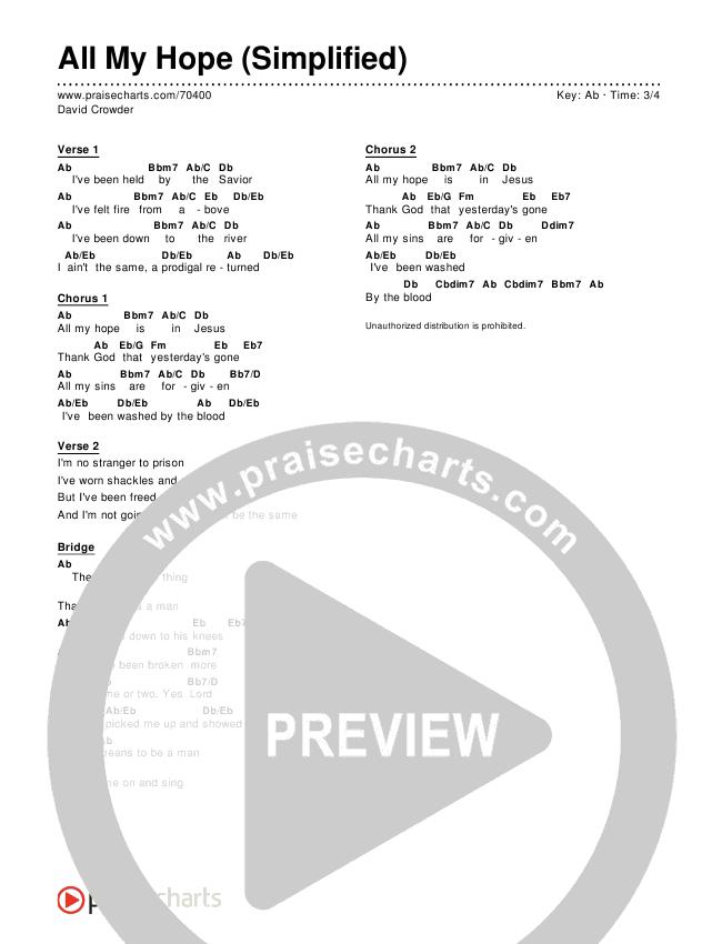 All My Hope (Simplified) Chords & Lyrics (David Crowder)