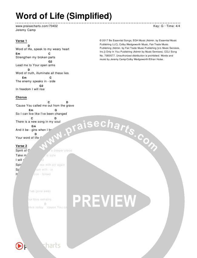 Word Of Life (Simplified) Chords & Lyrics (Jeremy Camp)