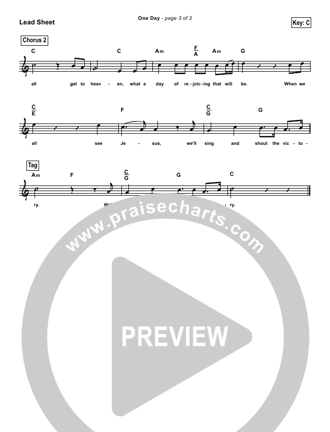One Day (When We All Get To Heaven) (Simplified) Lead Sheet (Matt Redman)