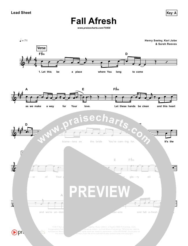 Fall Afresh (Simplified) Lead Sheet - The Belonging Co   PraiseCharts