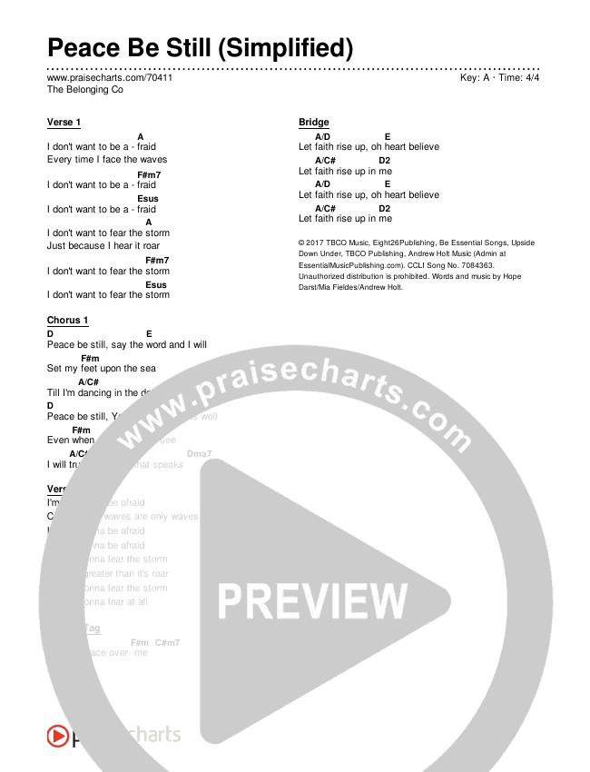 Peace Be Still (Simplified) Chords & Lyrics (The Belonging Co)