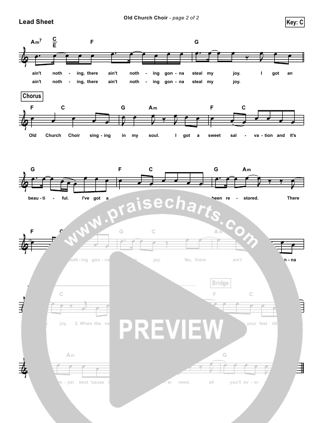 Old Church Choir (Simplified) Lead & Piano (Zach Williams)