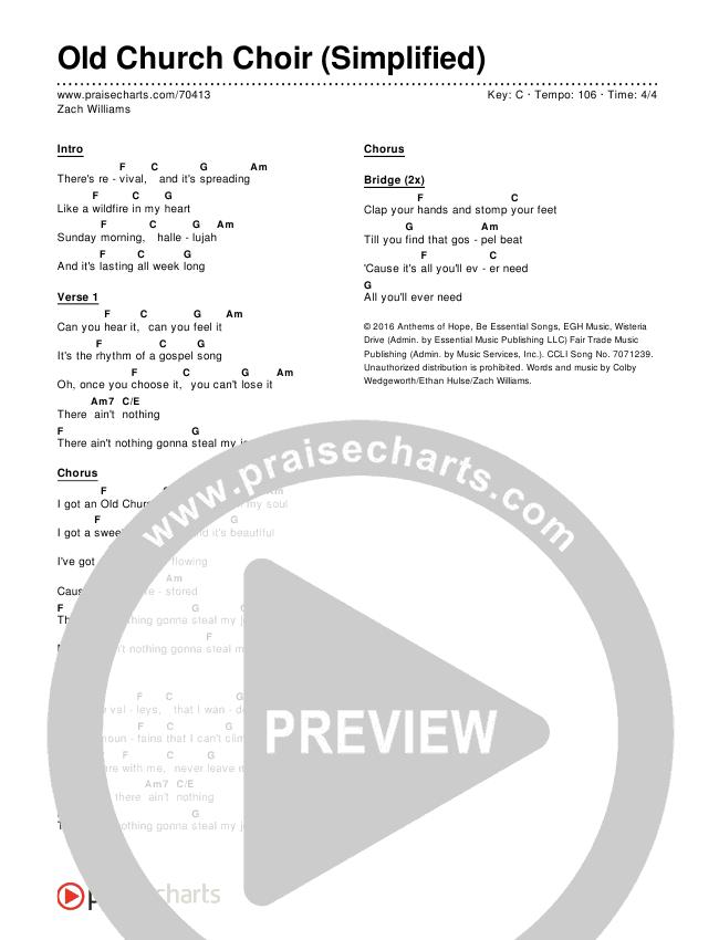 Old Church Choir (Simplified) Chord Chart (Zach Williams)