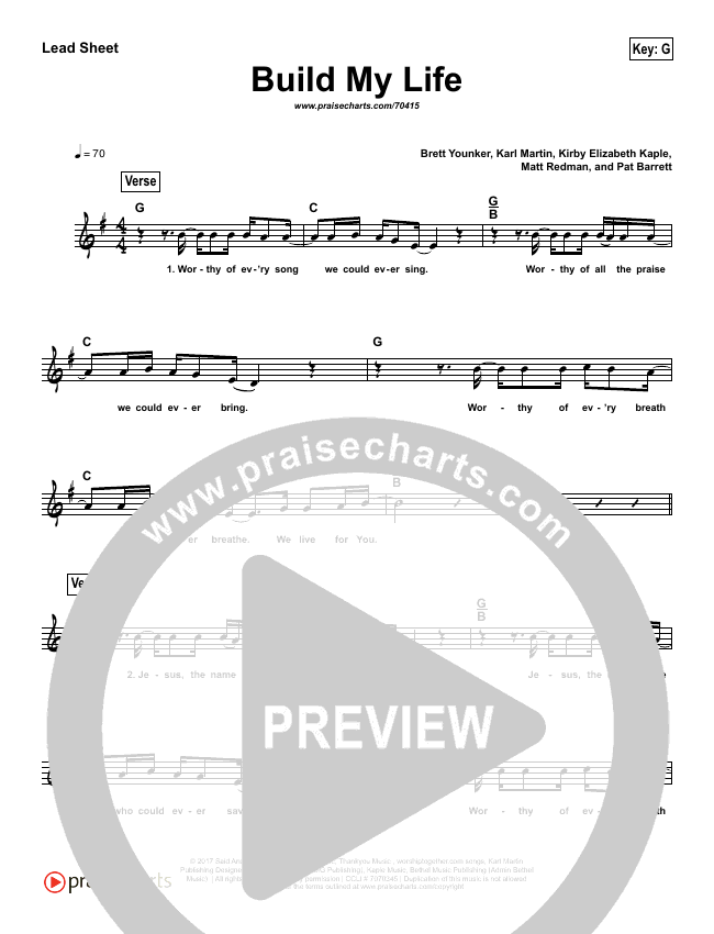 Build My Life (Simplified) Lead Sheet (Melody) (Passion / Brett Younker)