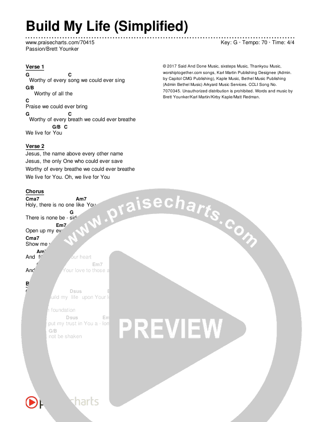 Build My Life (Simplified) Chords & Lyrics (Passion / Brett Younker)