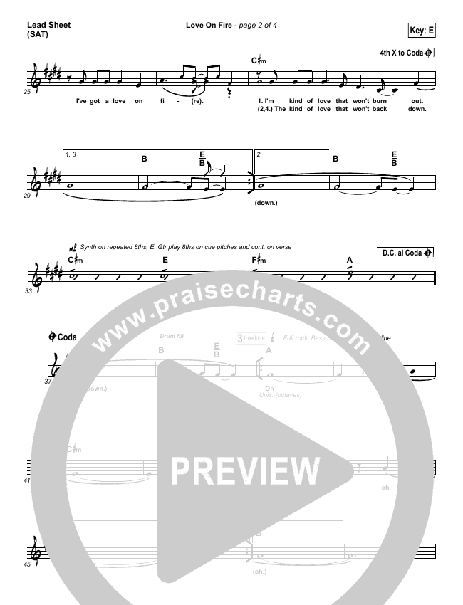 Love On Fire Lead Sheet (Jeremy Riddle)