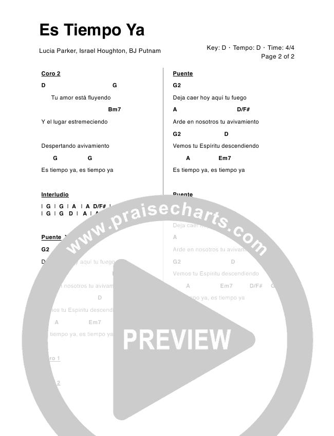 Es Tiempo Ya Chord Chart (Lucia Parker / Marcos Witt)