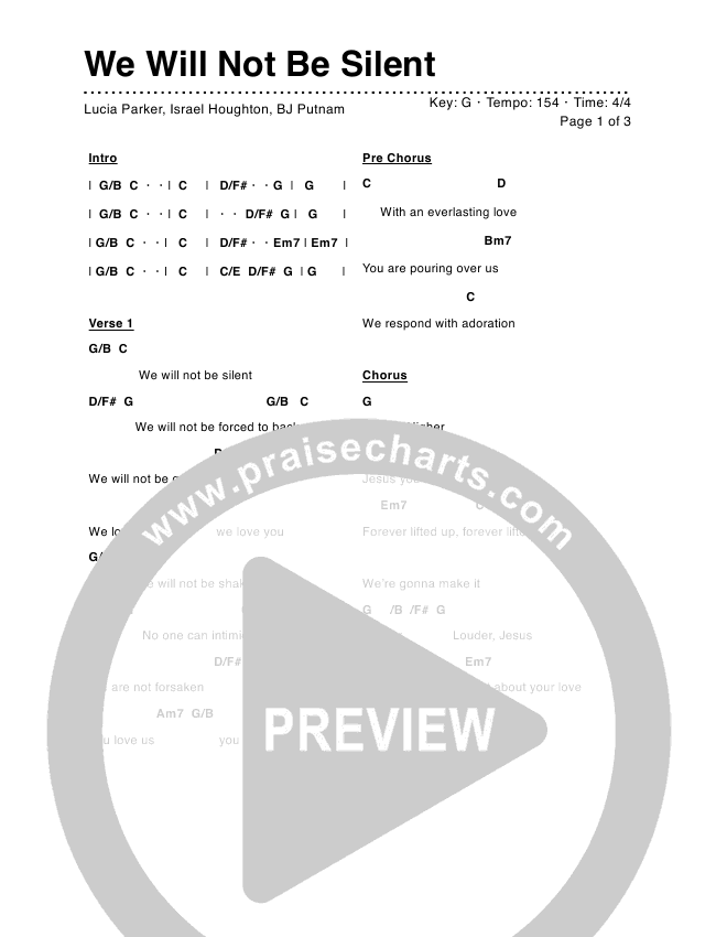 We Will Not Be Silent Chord Chart (Lucia Parker)