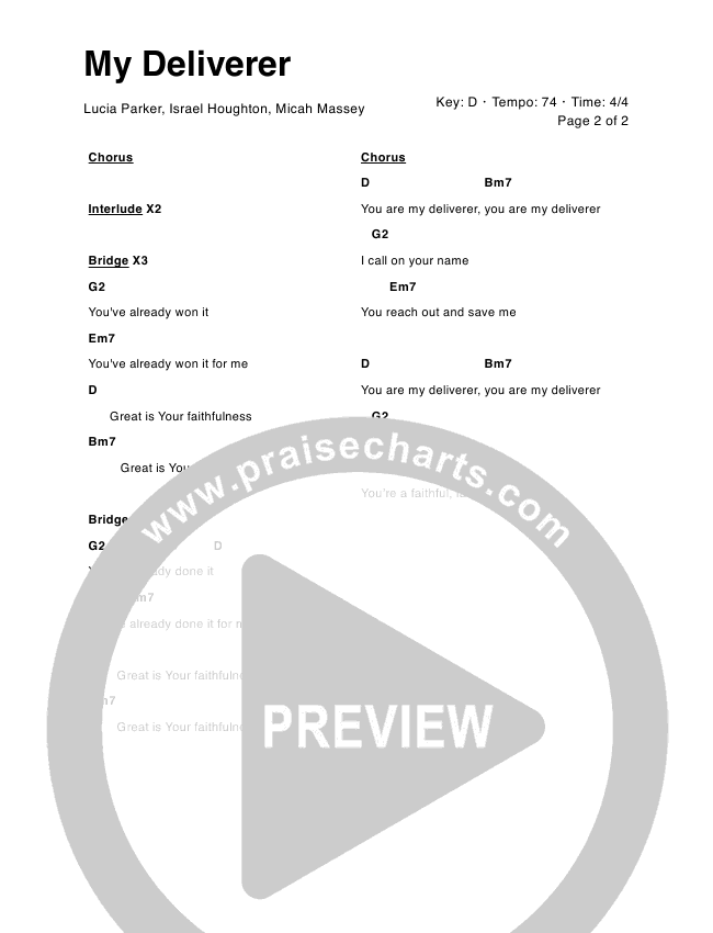 My Deliverer Chord Chart (Lucia Parker / Israel Houghton)