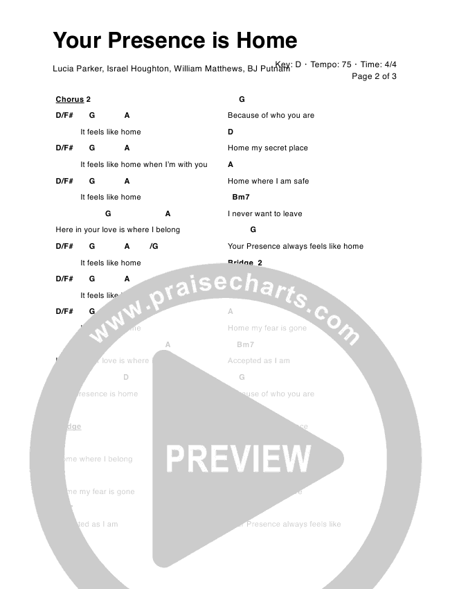 Your Presence is Home Chord Chart (Lucia Parker)