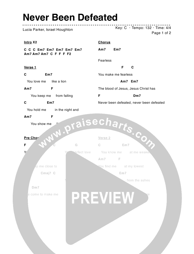 Never Been Defeated Chord Chart (Lucia Parker)