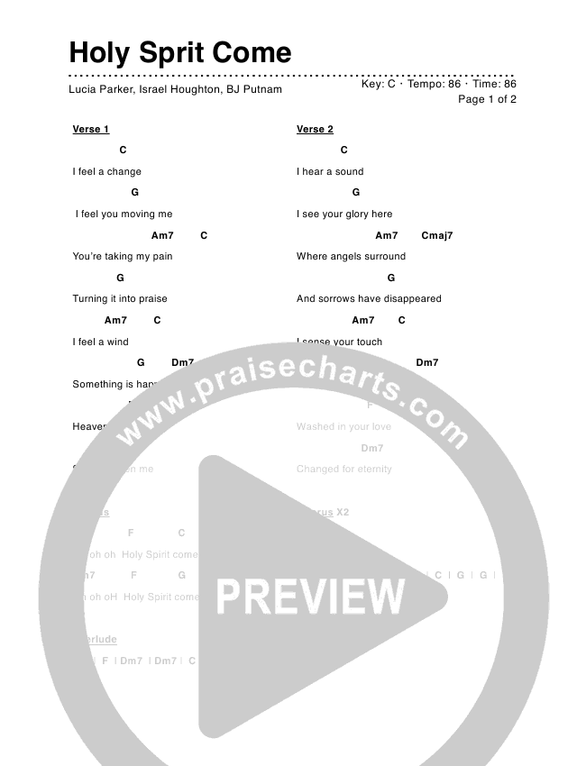 Holy Spirit Come Chord Chart (Lucia Parker)