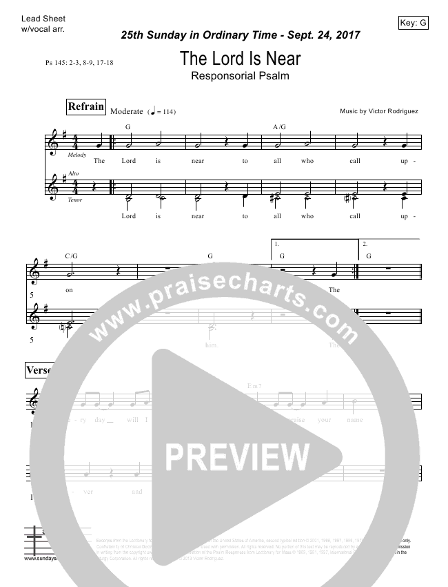 The Lord Is Near (Psalm 145) Lead Sheet (Victor Rodriguez)