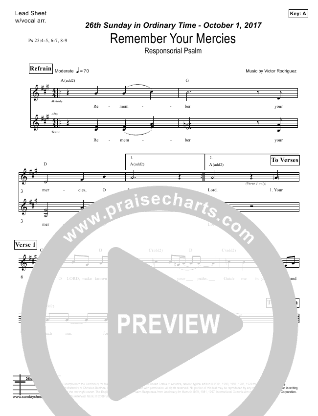 Remember Your Mercies (Psalm 25) Lead Sheet (Victor Rodriguez)