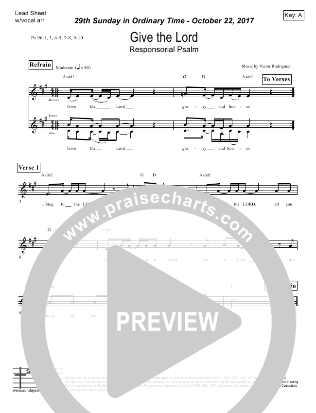 Give The Lord (Psalm 96) Lead Sheet (Victor Rodriguez)