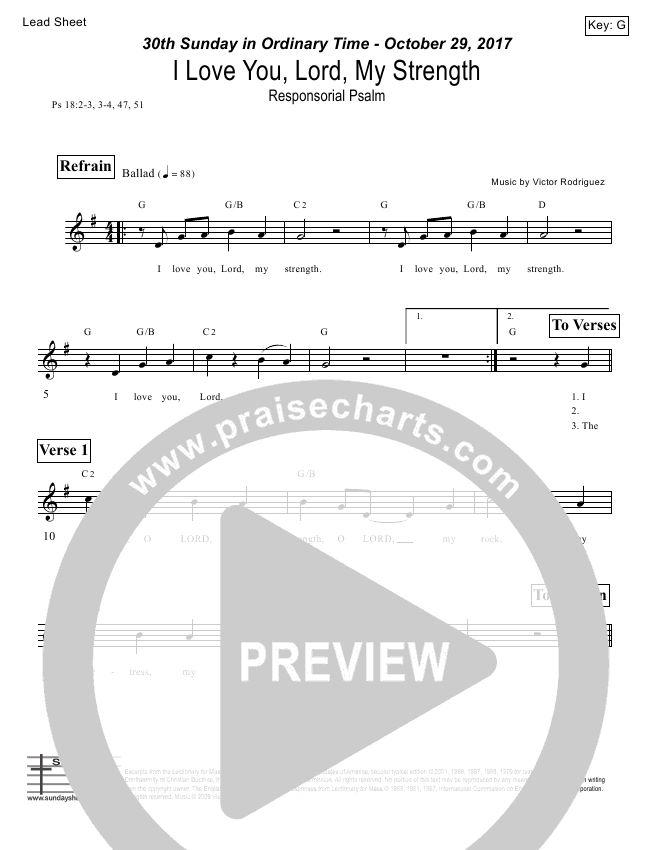 I Love You Lord My Strength (Psalm 18) Lead Sheet (Victor Rodriguez)