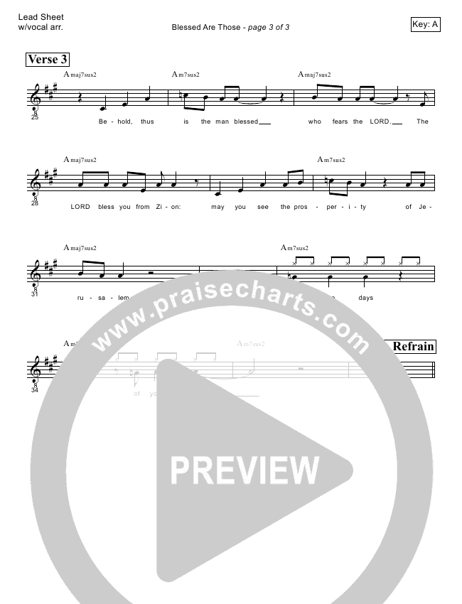Blessed Are Those (Psalm 128) Lead Sheet (Victor Rodriguez)