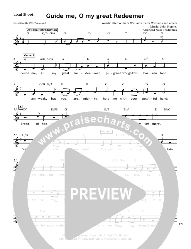 Guide Me O My Great Redeemer Lead & Piano/Vocal (All Souls Music)