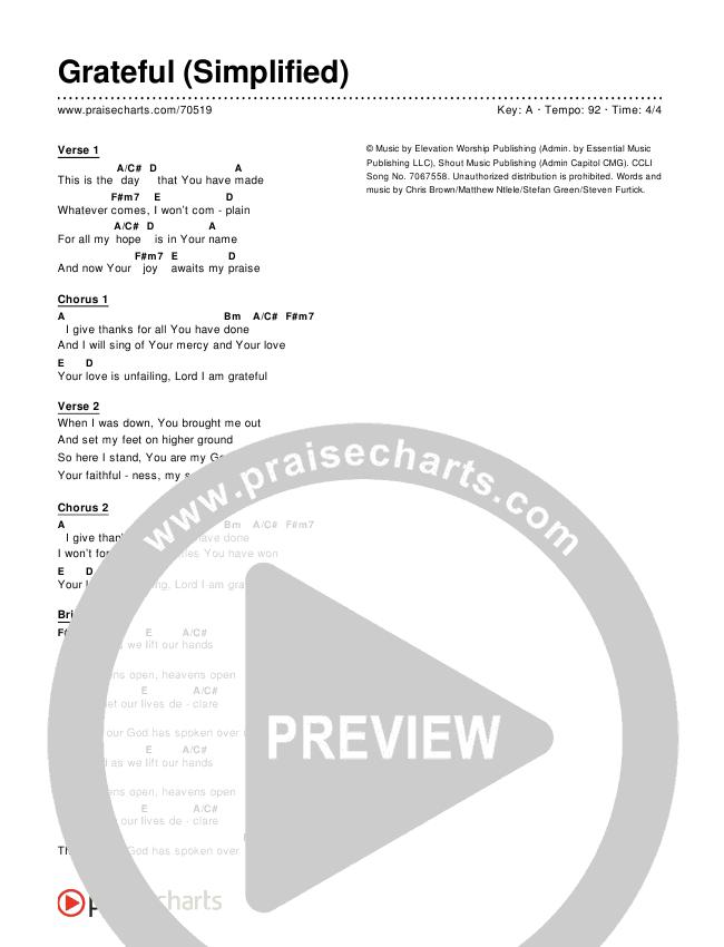 Grateful (Simplified) Chords & Lyrics (Elevation Worship)
