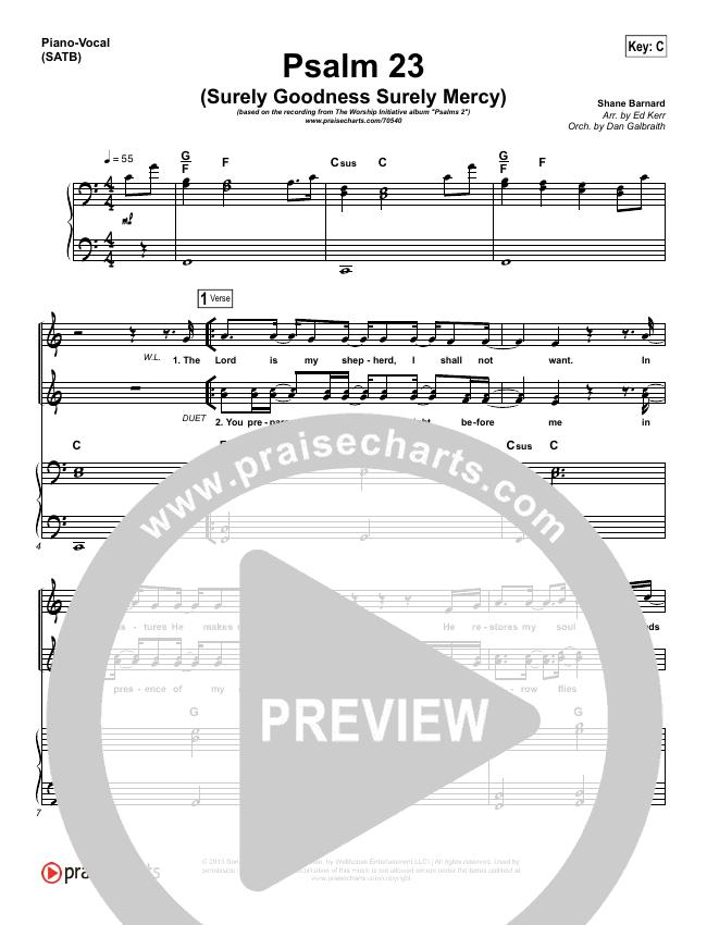 Psalm 23 (Surely Goodness) Piano/Vocal (SATB) (Shane & Shane / The Worship Initiative)
